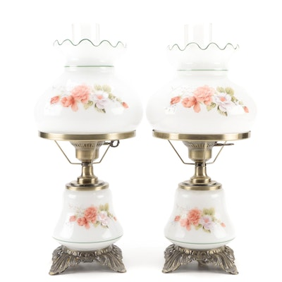 Pair of Milk Glass Parlor Lamps with Hand-Painted Roses
