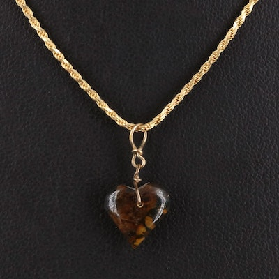 Amber Heart Pendant on 14K Braid Chain Necklace