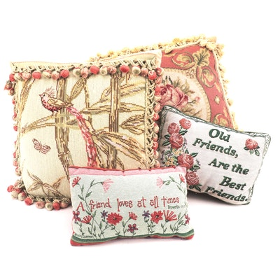 Needlepoint Accent Pillows and Other Accent Pillows, Mid to Late 20th Century