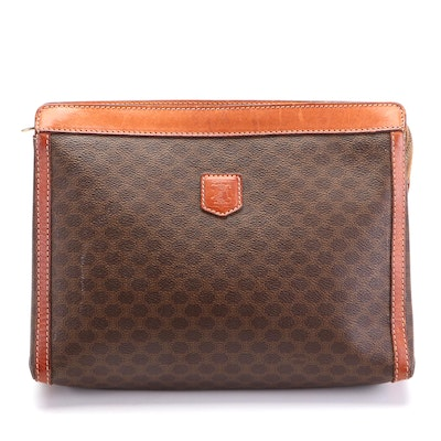 Celine Zip Clutch in Macadam Coated Canvas with Leather Trim
