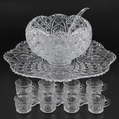 """Smith Glass """"Daisy and Button Clear"""" Pressed Glass Punch Bowl Set, 1970s"""