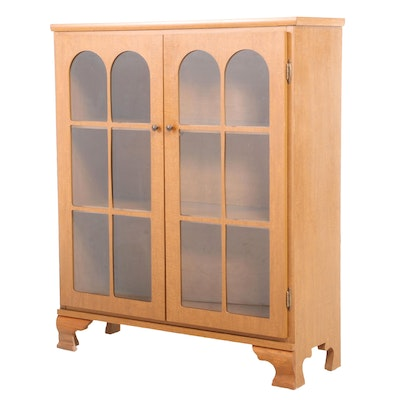 Chippendale Style Maple-Grained Laminate Glazed-Door Bookcase