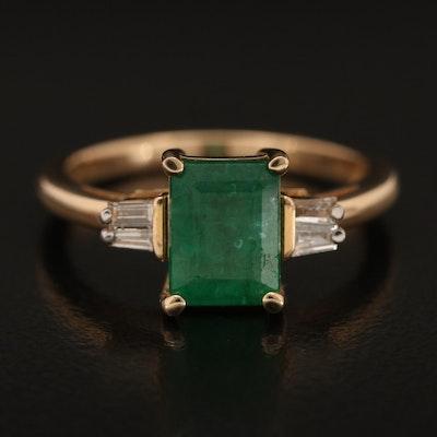 14K 1.48 CT Emerald and Diamond Ring