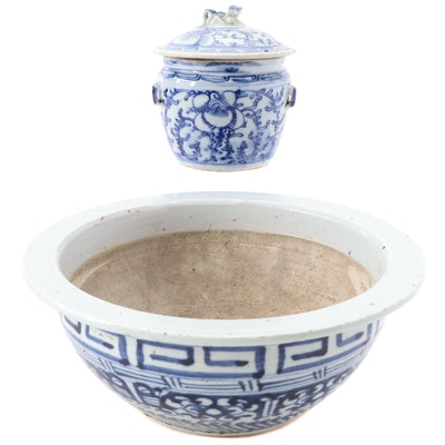 Chinese Blue and White Porcelain Rice Warmer and Planter
