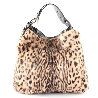 Escada Large Hobo Shoulder Bag in Dyed Goat Hair and Black Patent Leather