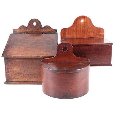 Primitive Wooden Salt Boxes, Antique