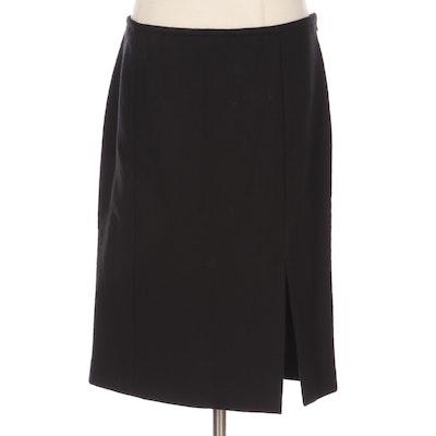 Armani Collezioni Panel Knee-Length Slit Skirt in Black Wool Crepe