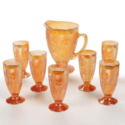 "Jeannette Glass Company ""Iris"" Iridescent Marigold Carnival Glass, 1960s"