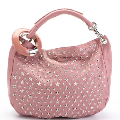 Jimmy Choo Hobo Bag in Star Embellished Leather with Bangle Detail