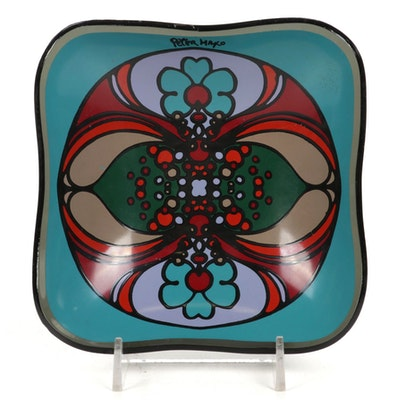 Peter Max Smoked Glass Tray, 1960s