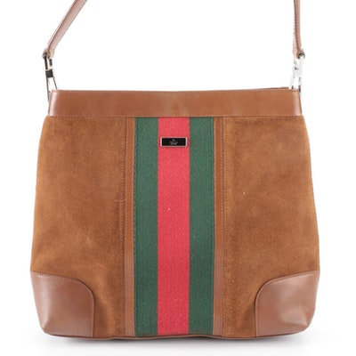 Gucci Small Shoulder Bag in Brown Suede and Leather with Web Stripe