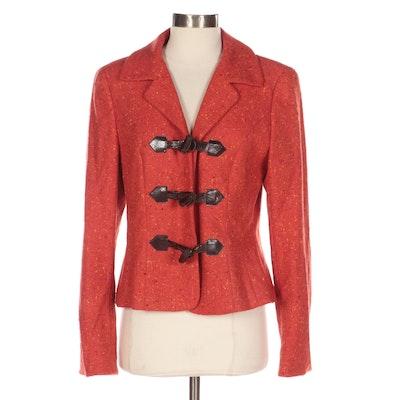 Escada Orange Tweed Toggle Jacket