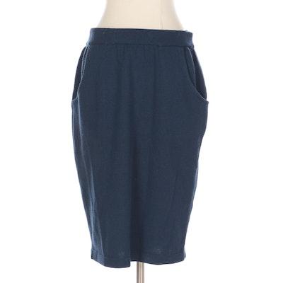 Jean Paul Gaultier Dark Blue Knit Pencil Skirt