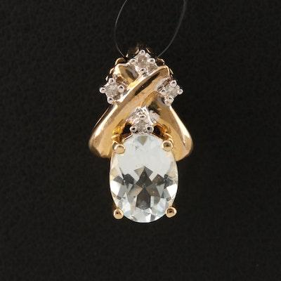 10K Aquamarine and Diamond Pendant