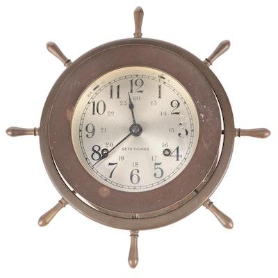 "Seth Thomas ""Helmsman"" Brass Ship's Bell Clock, Mid to Late 20th Century"