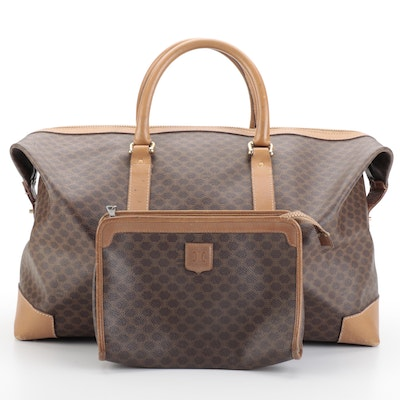 Celine Boston Duffel Bag and Cosmetic Bag in Macadam Canvas and Leather