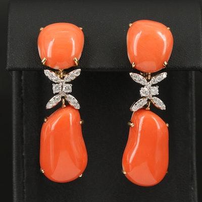 18K Coral and Diamond Drop Earrings