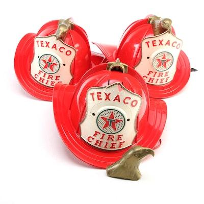 Texaco Fire Chief Battery Operated Toy Fireman's Helmets, Mid-20th Century
