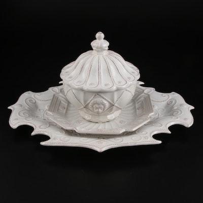 """Juliska """"Jardins du Monde"""" Whitewash Porcelain Compote, Dish, and Platter"""