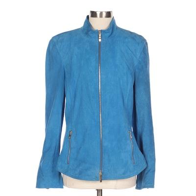 Dana Buchman Blue Suede Mock Neck Zip Jacket