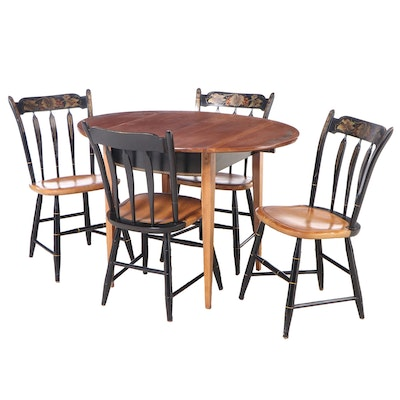 Five-Piece L. Hitchcock Federal Style Ebonized and Gilt-Stenciled Dining Set