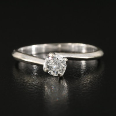 14K 0.21 CT Diamond Knife-Edge Solitaire Ring