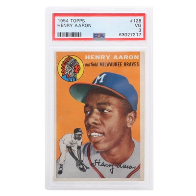 "1954 Henry Aaron Topps #128 Milwaukee Braves ""PSA VG 3"" Rookie Baseball Card"