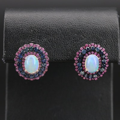 Sterling Opal, Ruby and Sapphire Triple Halo Earrings