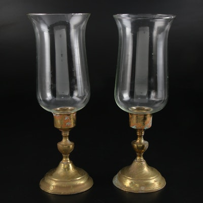 Brass Candlesticks with Glass Hurricane Globes, 20th Century