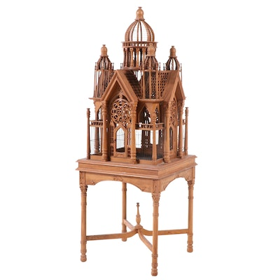 Carved Teak Architectural Aviary on Stand