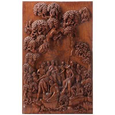 Narrative Carved Wood Sculptural Relief, Mid-Late 20th Century