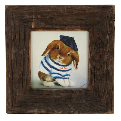 Giclée of a Rabbit in a French Costume, 21st Century