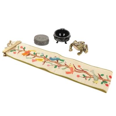 McCoy Frog, Black Milk Glass Ashtray, Trinket Box and Bell Pull