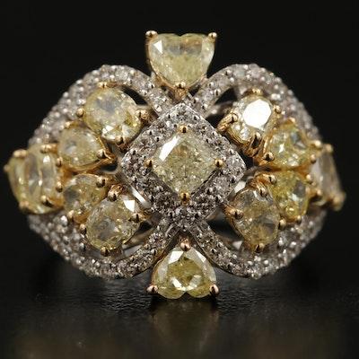 18K 3.10 CTW Diamond Openwork Ring with GIA Report