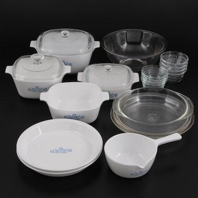 "CorningWare ""Blue Cornflower"" Bakeware with Pyrex Glass Bakeware, Mid-20th C."