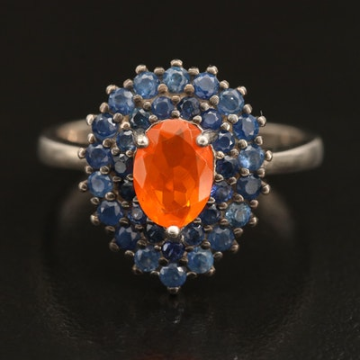 Sterling Opal and Sapphire Drop Ring