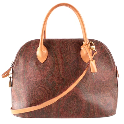 ETRO Domed Zip Tote in Paisley Coated Canvas and Leather with Detachable Strap