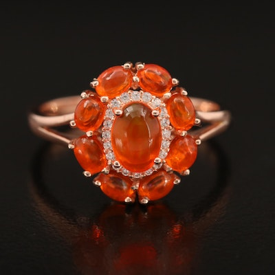 Sterling Fire Opal and Cubic Zirconia Ring