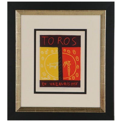 """Lithograph Bookplate After Pablo Picasso """"Toros En Vallauris 1955"""""""