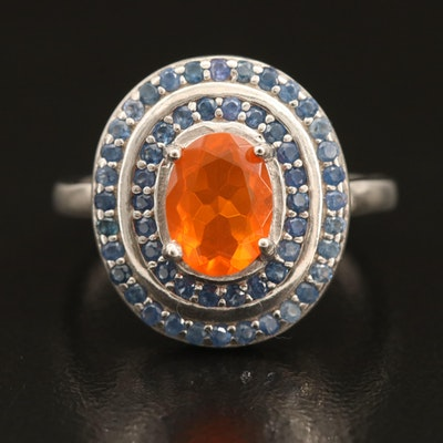 Sterling Opal and Sapphire Double Halo Ring