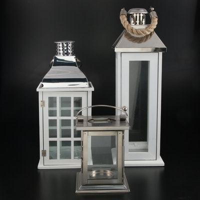 Contemporary Farmhouse Style Wood and Metal Candle Lanterns