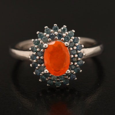 Sterling Fire Opal and Sapphire Ring