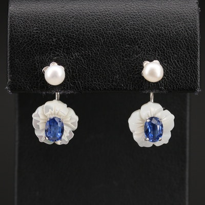 Sterling Pearl Stud Earrings with Kyanite and Mother of Pearl Enhancers