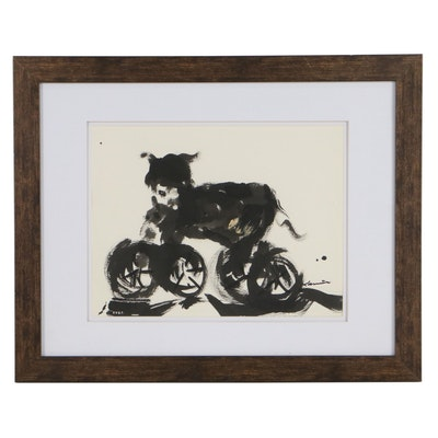 """Robert Canete Abstract Ink Painting """"Wheel Dog"""""""