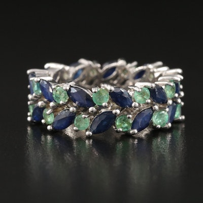 Sterling Silver Sapphire and Emerald Eternity Band