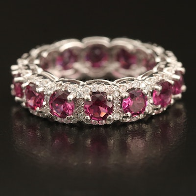 Sterling Silver Garnet and Cubic Zirconia Eternity Band