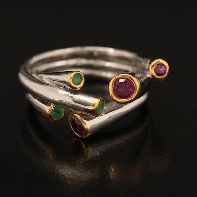 Sterling Rhodolite Garnet and Emerald Bypass Ring