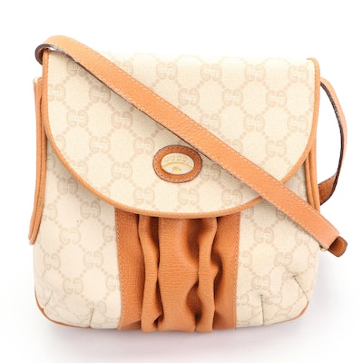 Gucci Plus Pleated Leather and Coated Canvas Front Flap Crossbody Bag
