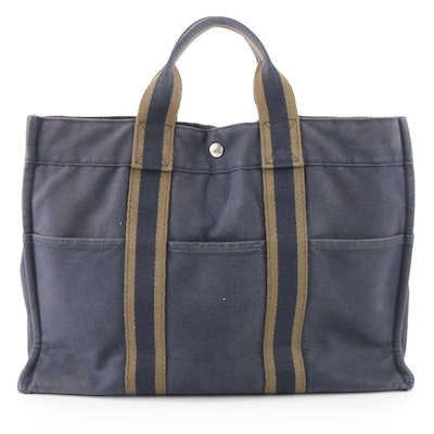 Hermès Fourre Tout MM Tote in Navy Blue/Olive Green Cotton Canvas