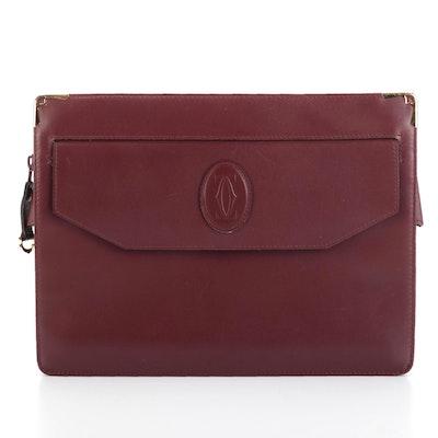 Must de Cartier Zip Top Clutch in Burgundy Leather